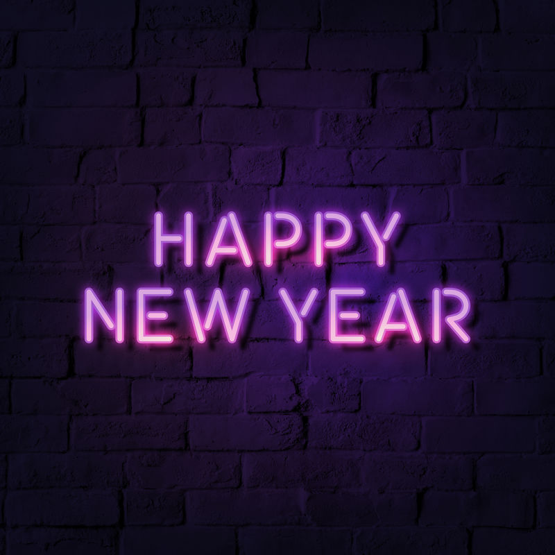 霓虹灯喜庆新年社交广告模板