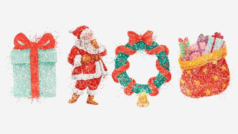 彩色闪光手绘矢量圣诞系列