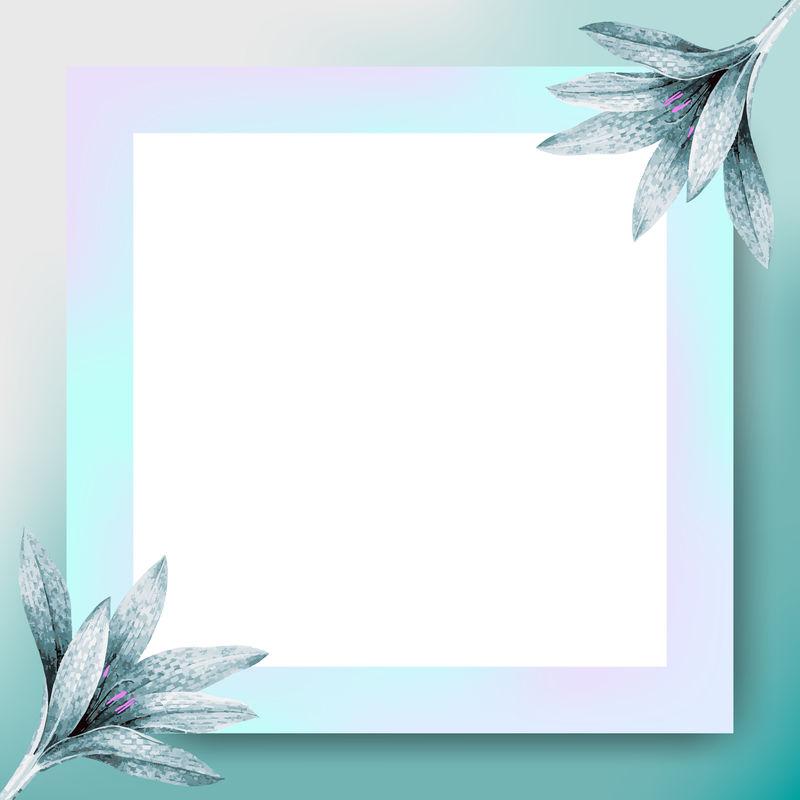 蓝色矩形花框向量
