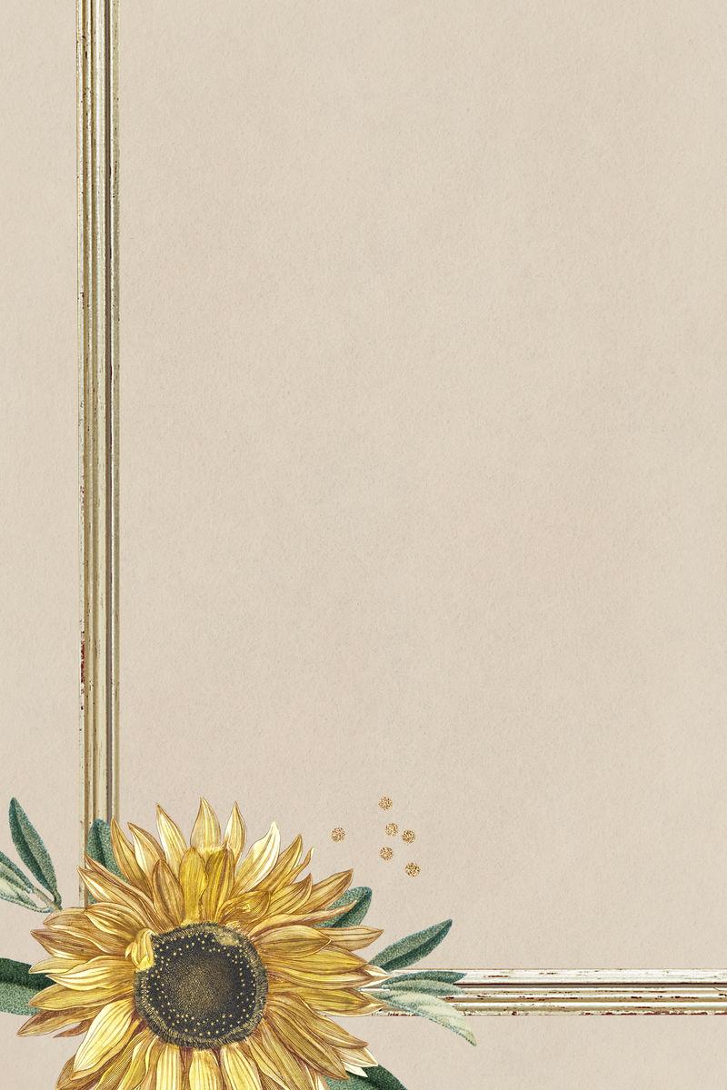 可爱的向日葵在米色背景插图
