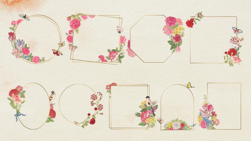 Psd花卉金框套装由史密森尼档案馆18世纪的艺术品混合而成