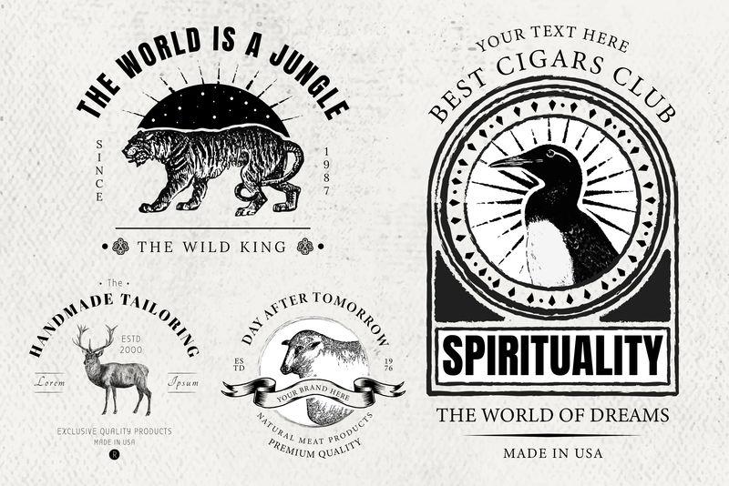 复古标志psd动物品牌徽章套装