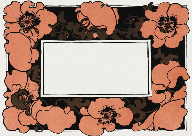 橙色罂粟花框架psd框架新艺术风格由埃塞尔·里德的艺术作品混合而成