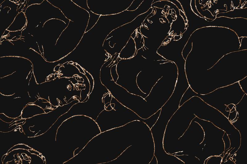 金色女性线条艺术绘画图案背景矢量混合自Egon Schiele的艺术作品
