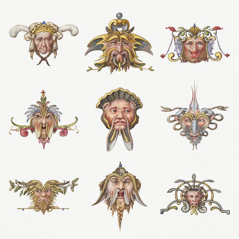 巨魔中世纪神话生物psd集混音从模型书的书法乔里斯霍夫纳格尔和乔治博茨凯
