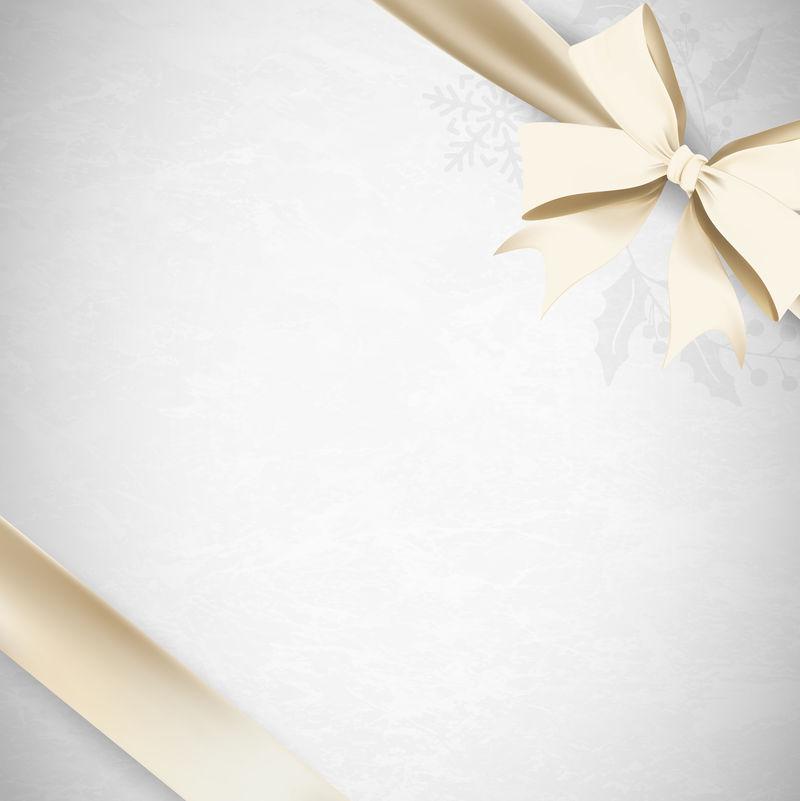 灰色背景向量上的金色丝带蝴蝶结
