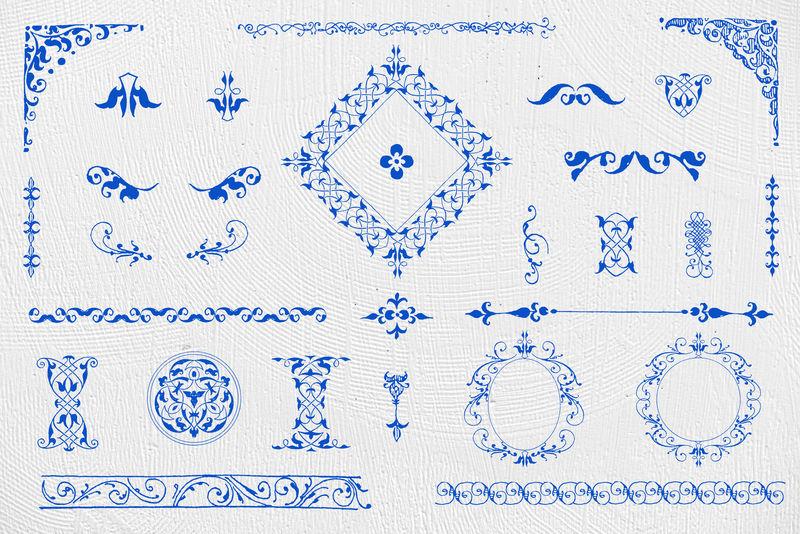 蓝色复古装饰元素psd套装由Joris Hoefnagel和Georg Bocskay的书法模型书混合而成
