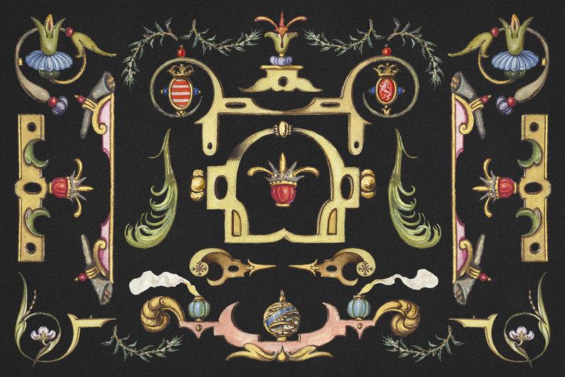 Psd维多利亚时期的装饰性边框由乔里斯·霍夫纳格尔(Joris Hoefnagel)和格奥尔格·博茨凯(Georg Bocskay)的书法模型书混合而成