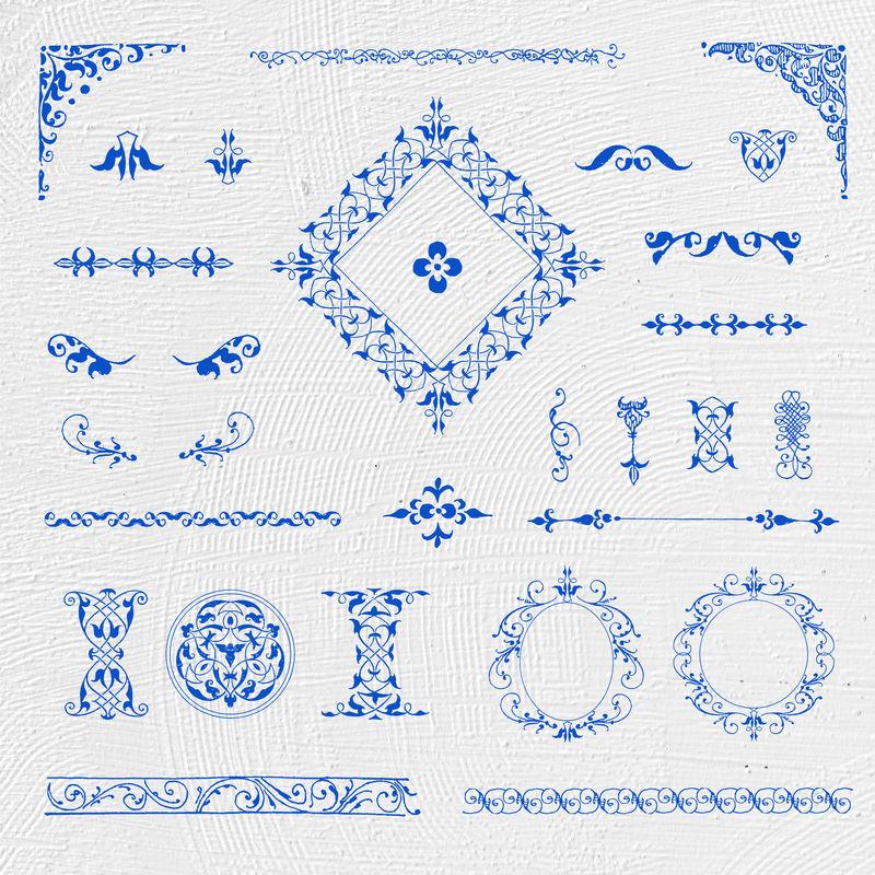 复古蓝色装饰元素psd套装由Joris Hoefnagel和Georg Bocskay的书法模型书混合而成