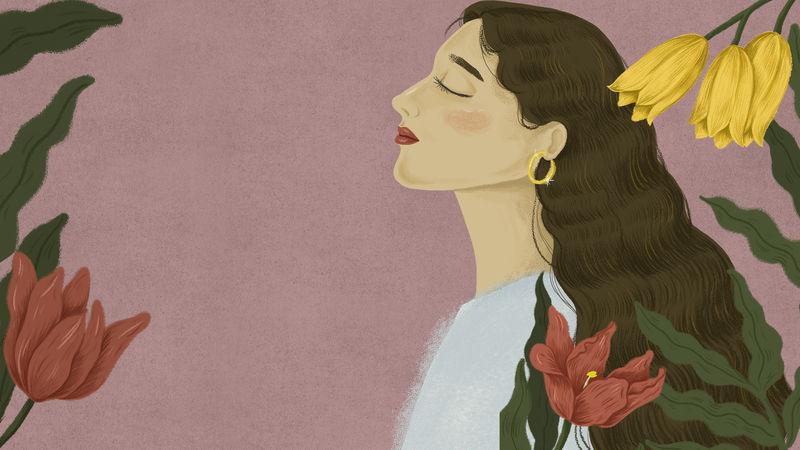 美丽的女人被大自然包围插图