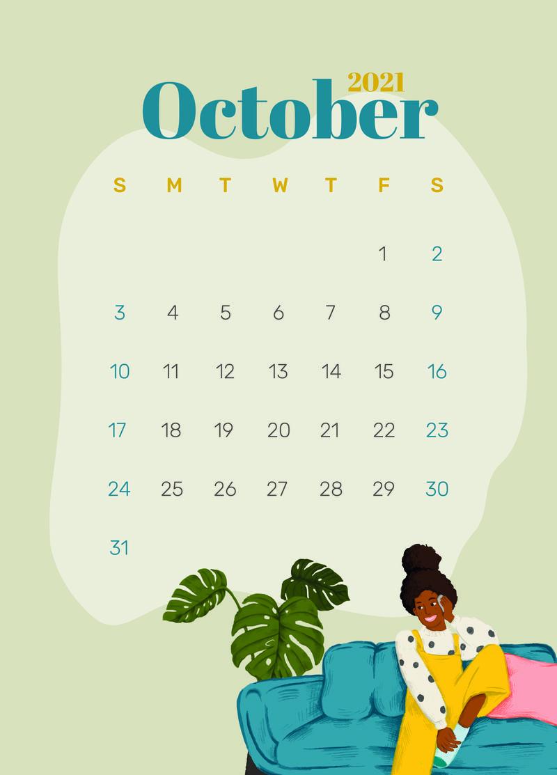 日历2021年10月可打印模板psd手绘生活方式
