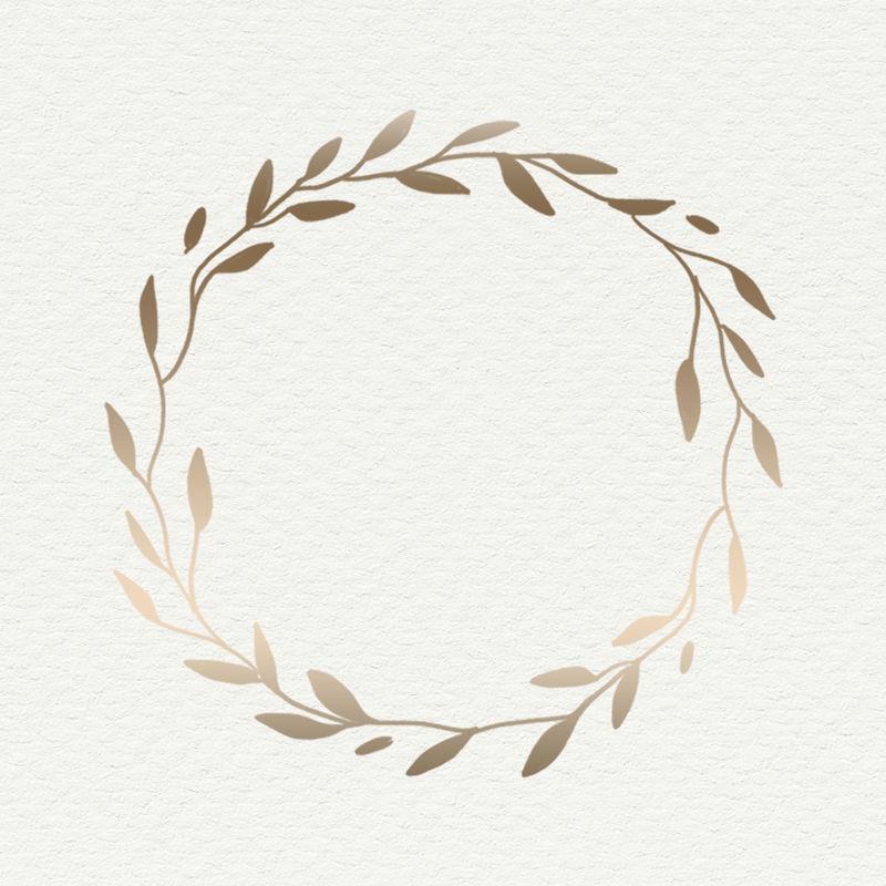 金色叶子框架米色背景插图模型