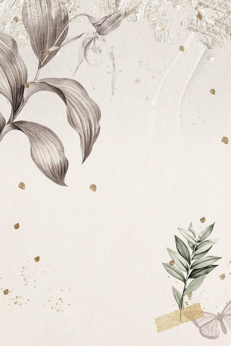 热带树叶背景插图