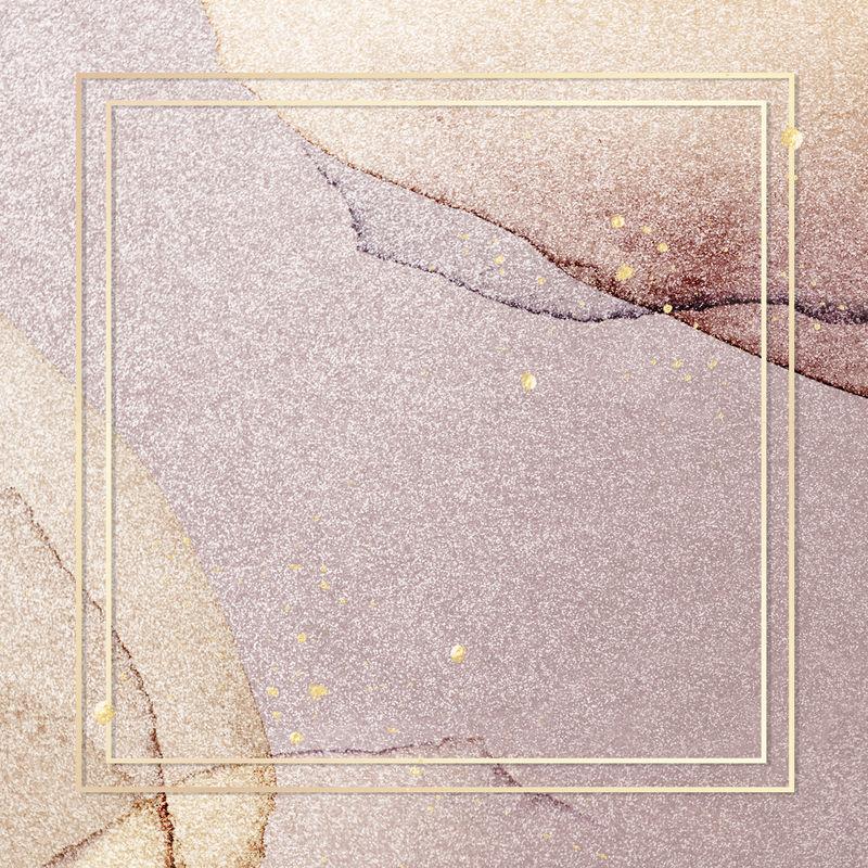 粉红色闪光背景插图上的金色框架