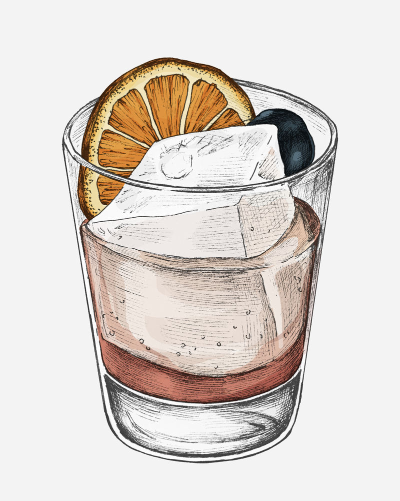 手绘冰柠檬水