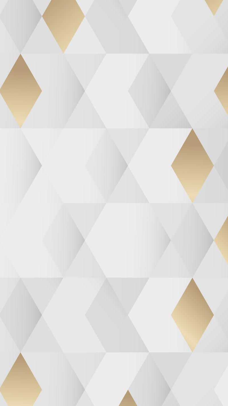 白色和金色几何图案背景手机壁纸矢量