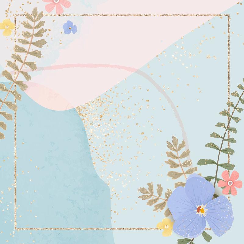 淡蓝色背景上的金色方形花框矢量