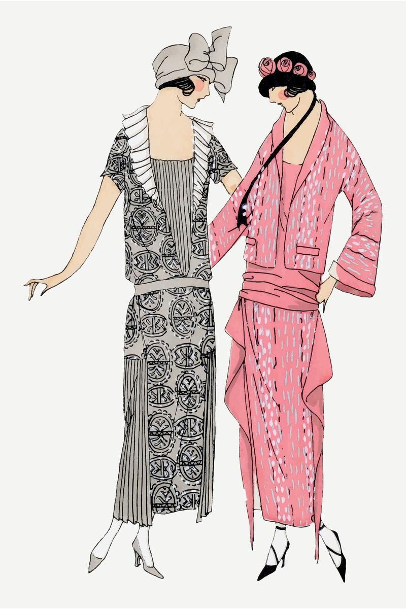 复古挡板妇女插图矢量从Tr\u0026egrave;s Parisien出版的复古插图混合而成