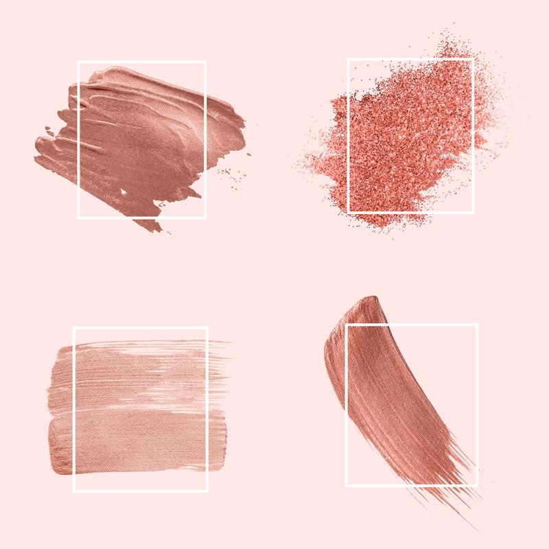 粉红色笔触徽章向量集