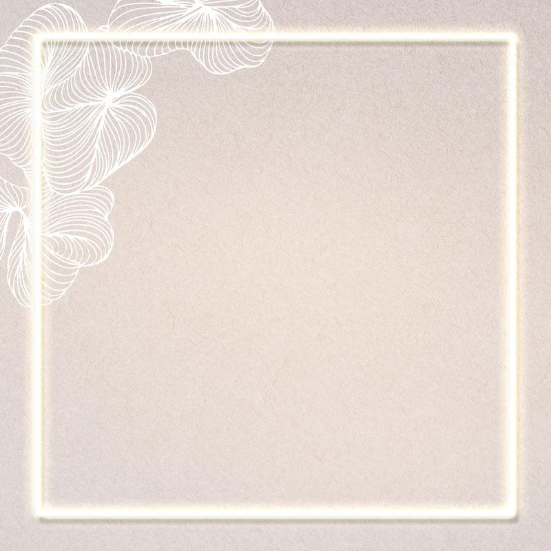 明亮的花卉方形框架社交广告模板插图