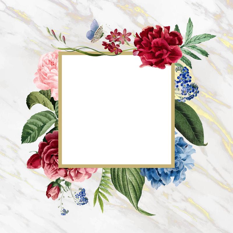 大理石背景向量上的花卉方形框架