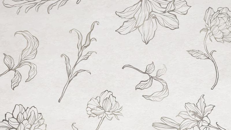 金色花卉轮廓背景向量