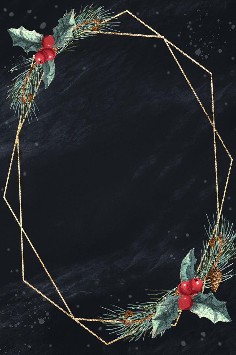 Balnk金色圣诞六边形框架