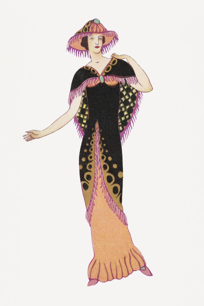 身着挡板裙的女人由奥托·弗里德里希·卡尔·伦德克的作品混合而成