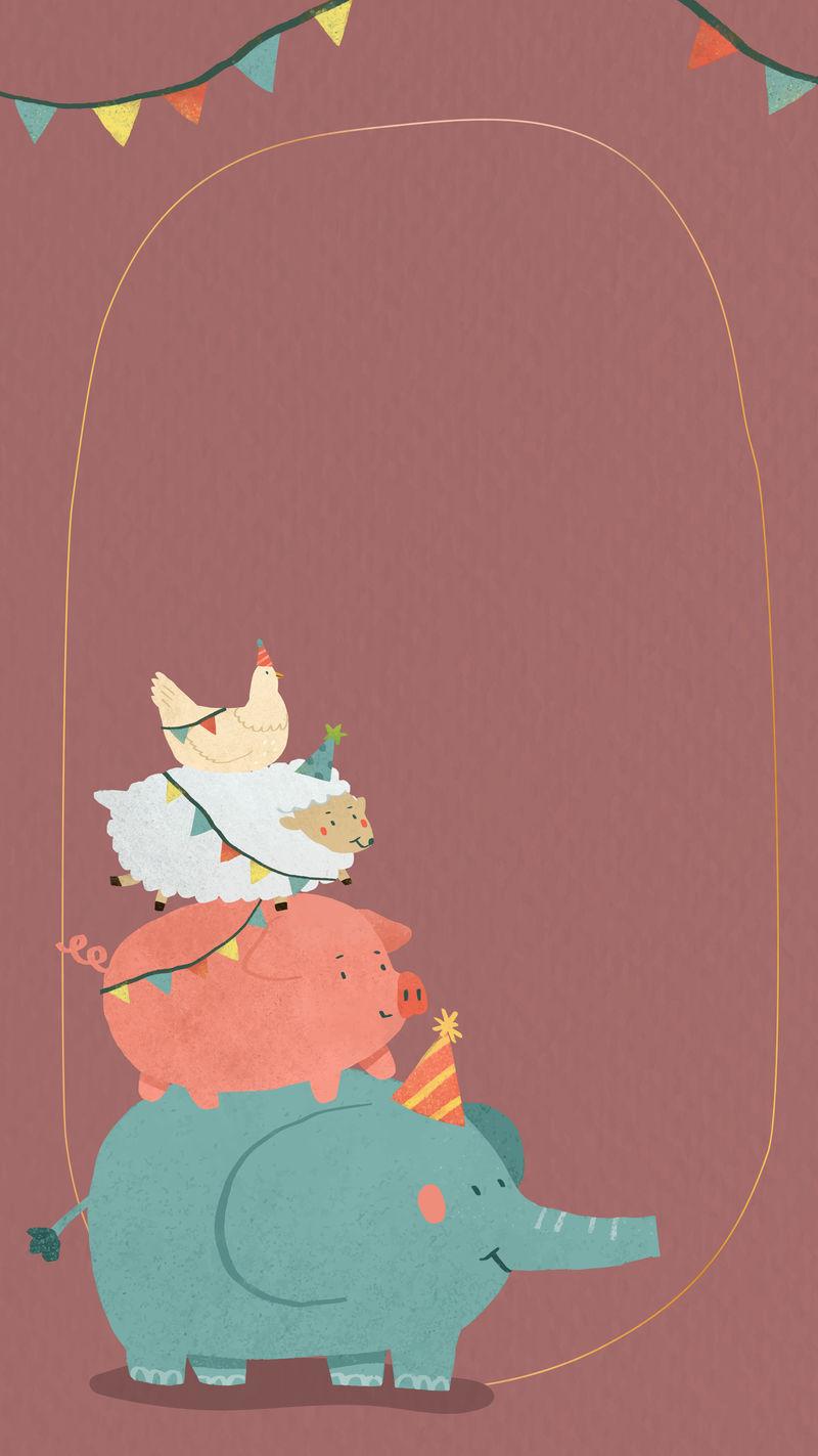 动物涂鸦框手机壁纸矢量
