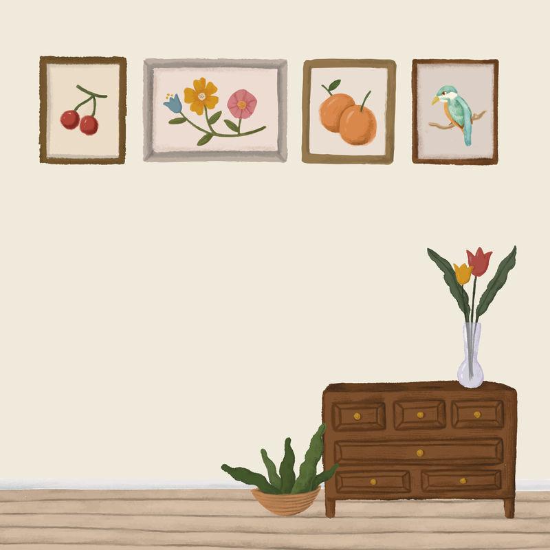 米色房间木柜素描风格向量