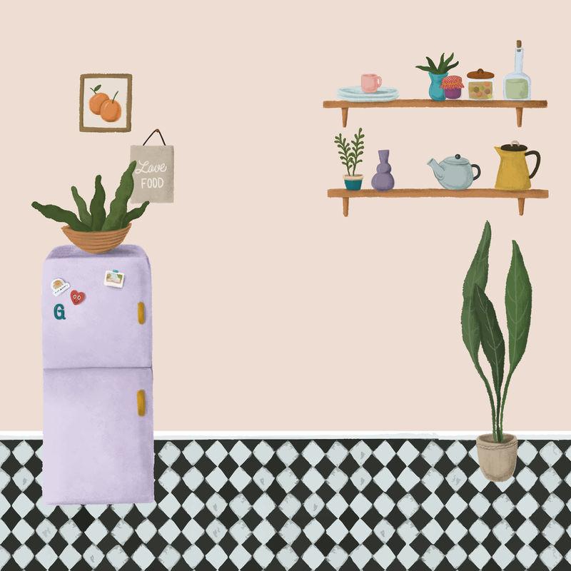 紫色冰箱在桃粉色厨房素描风格向量