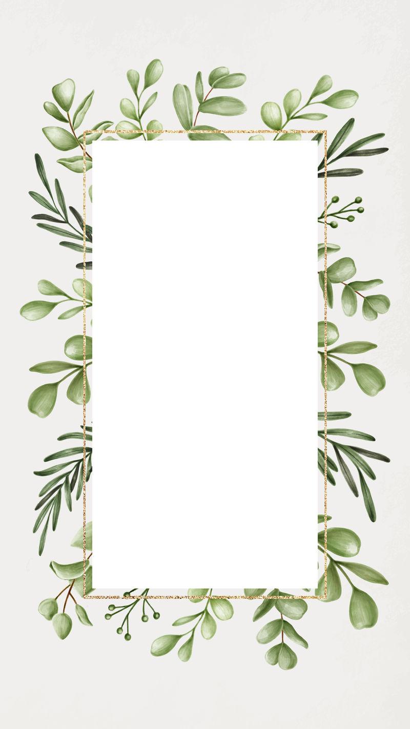 绿色花框手机壁纸矢量