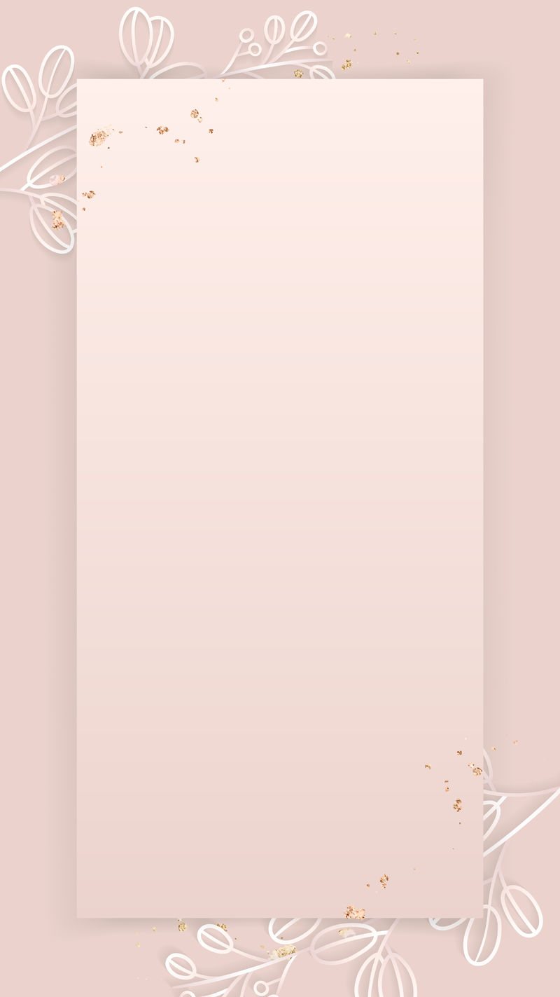 矩形框上的花卉图案粉色手机壁纸矢量