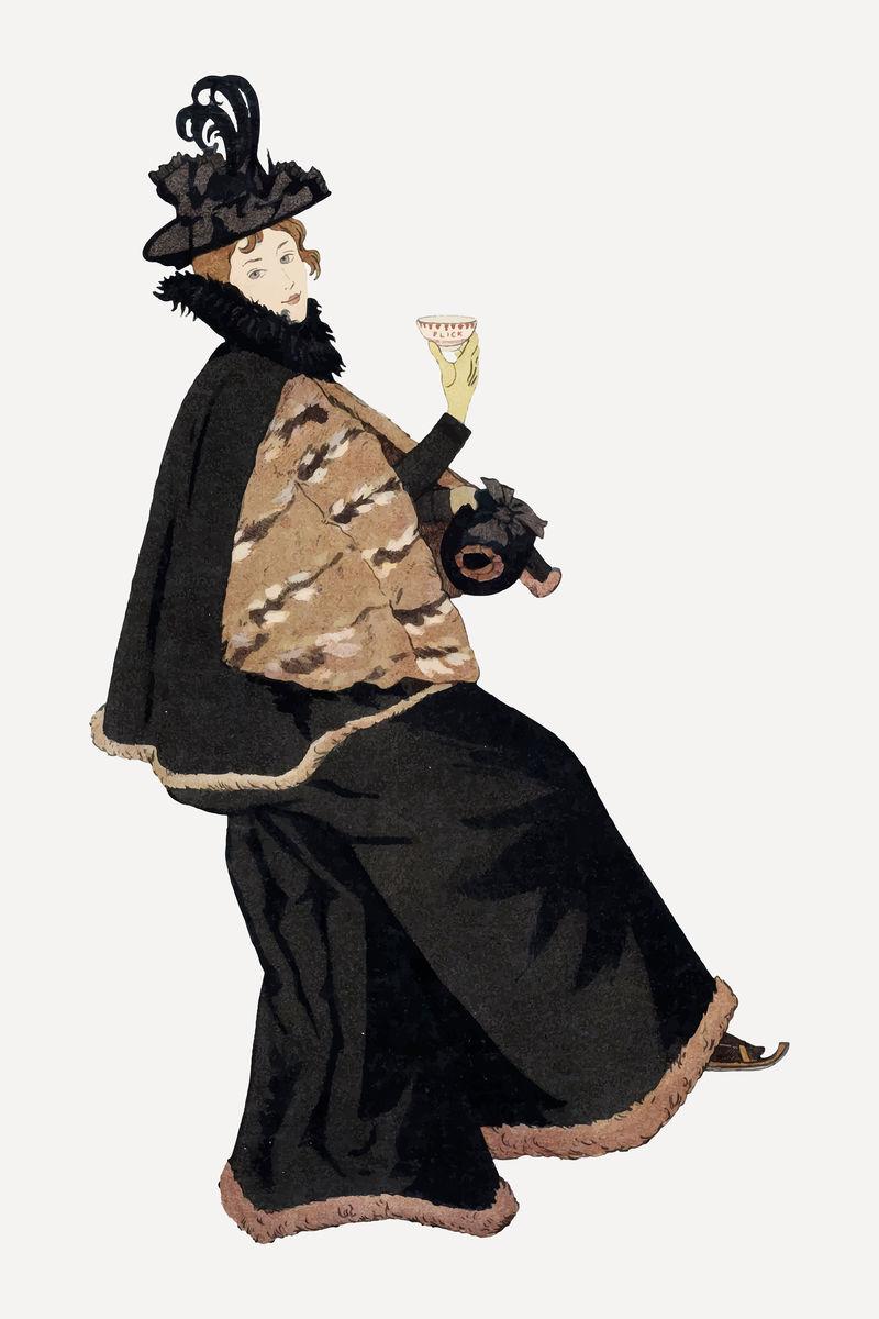 身着传统服装的vector女士喝着热可可由Johann Georg van Caspel的艺术作品混合而成