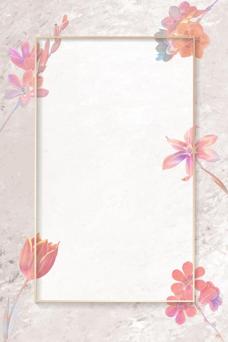空白粉色花矩形框向量