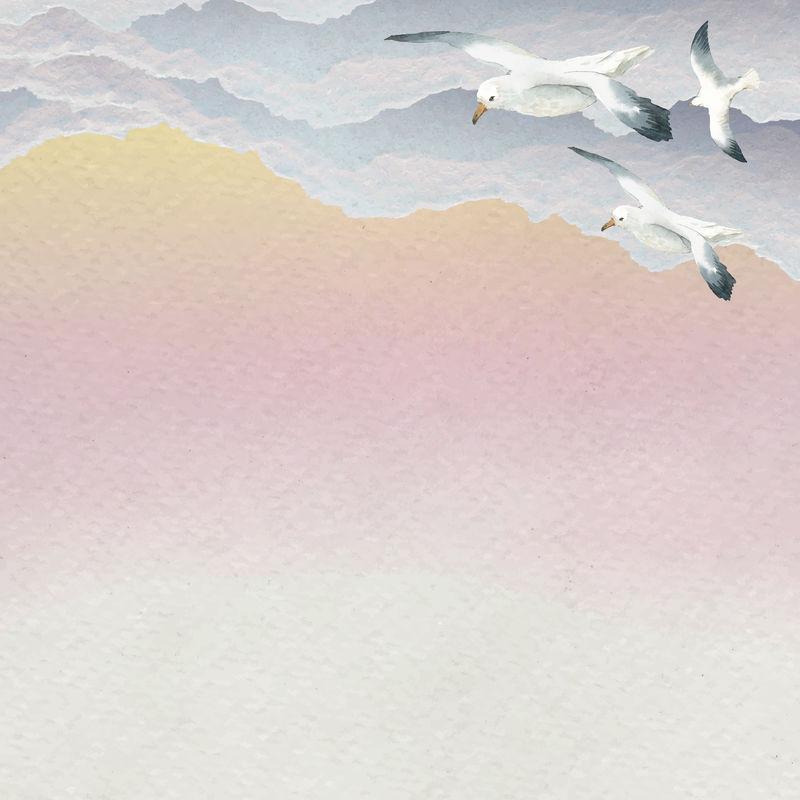 水彩海鸥在天空飞翔旗帜矢量