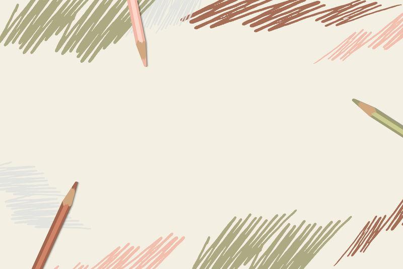 彩色铅笔涂鸦纸矢量