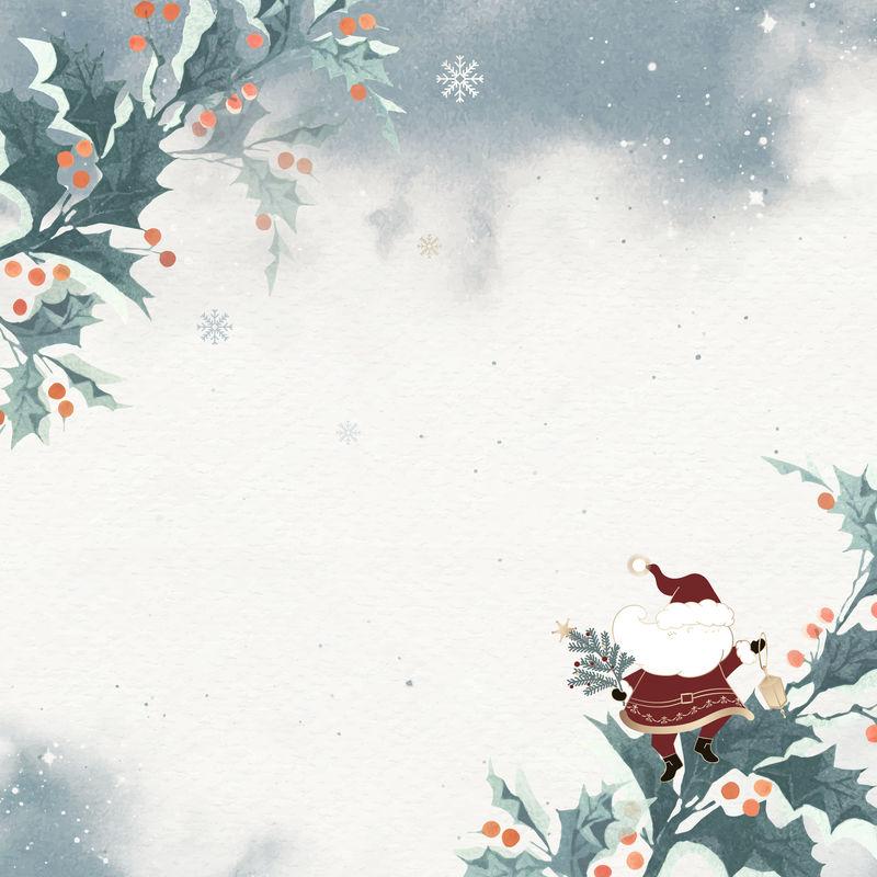 圣诞老人与冬青浆果涂鸦背景向量