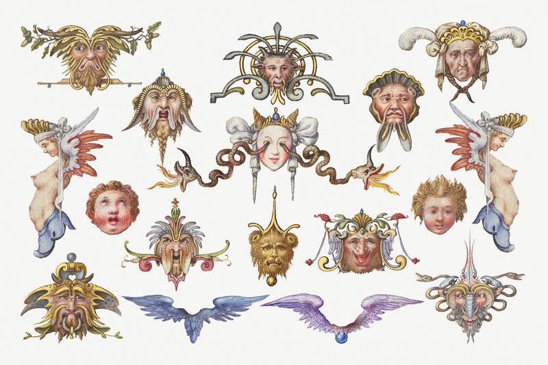 巨魔天使中世纪神话生物集混音从模型书的书法乔里斯霍夫纳格尔和乔治博茨凯