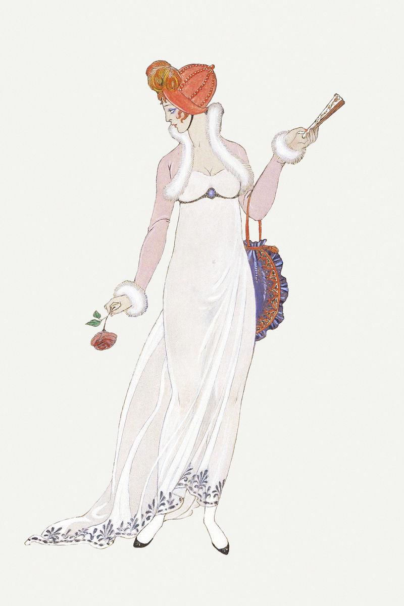 1920年代女性时尚psd乔治·巴比尔艺术作品混音