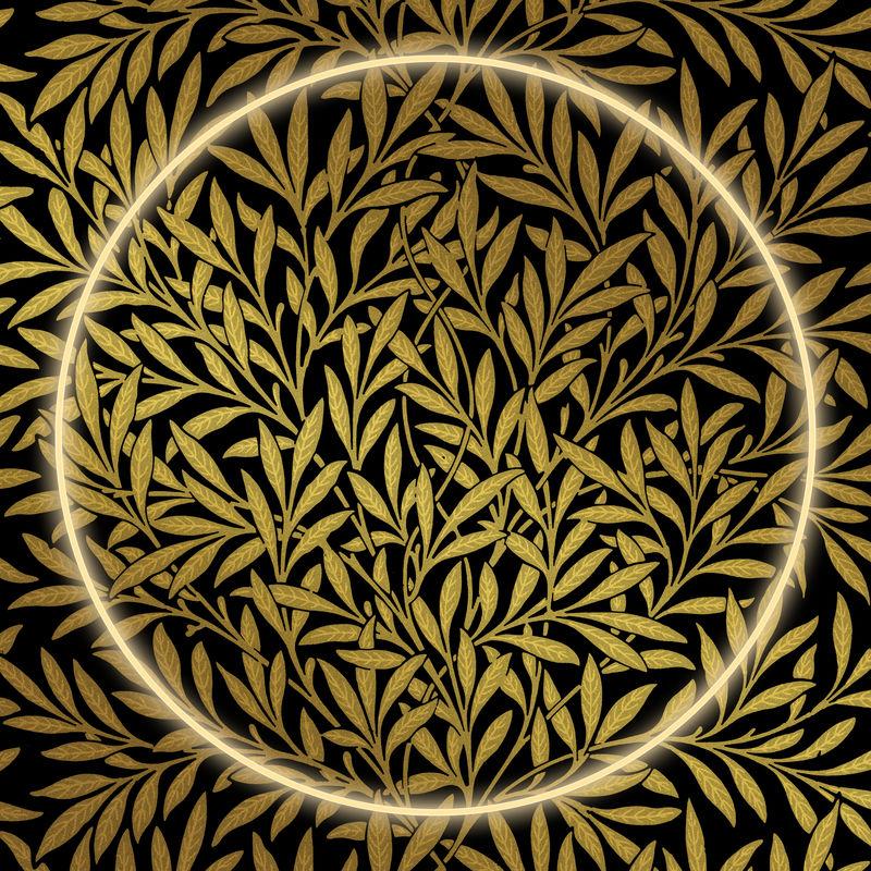 金花图案psd框架从威廉莫里斯的艺术作品混音