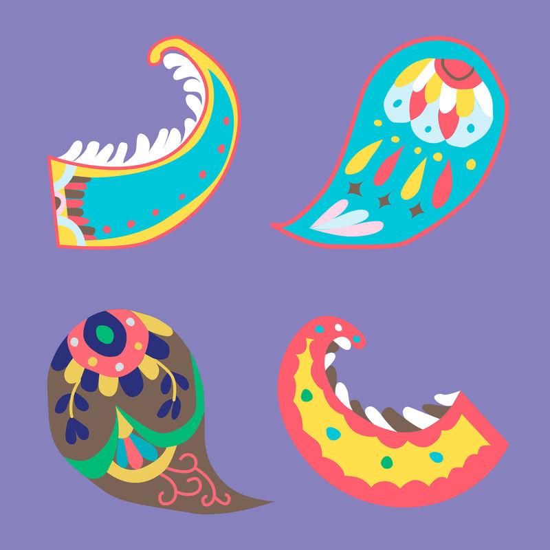彩色印度佩斯利观赏矢量系列