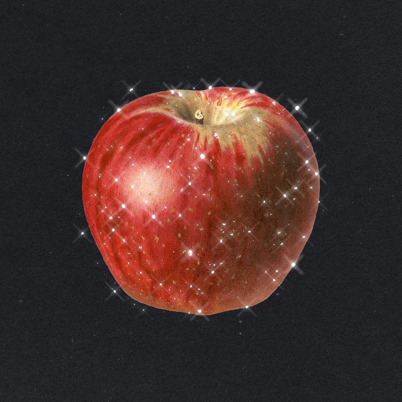 手绘红苹果起泡果品设计元素
