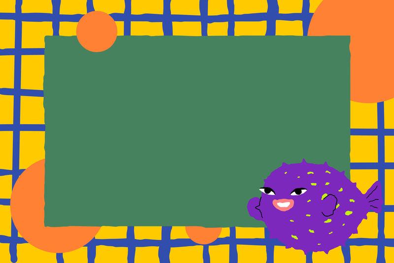 彩色河豚动物插画框架