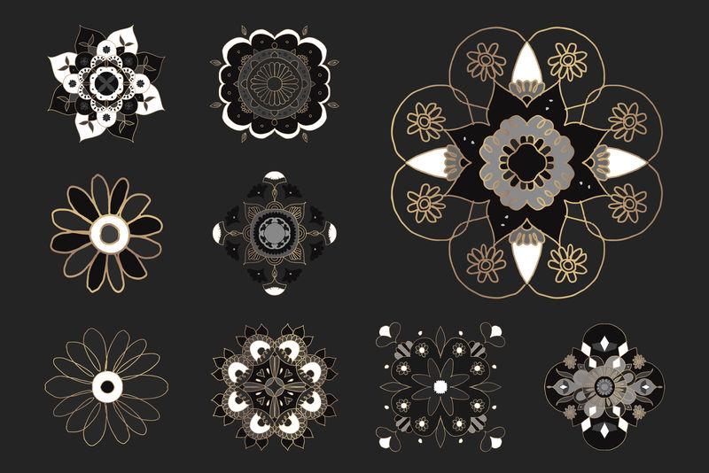曼荼罗印度符号装饰插图集