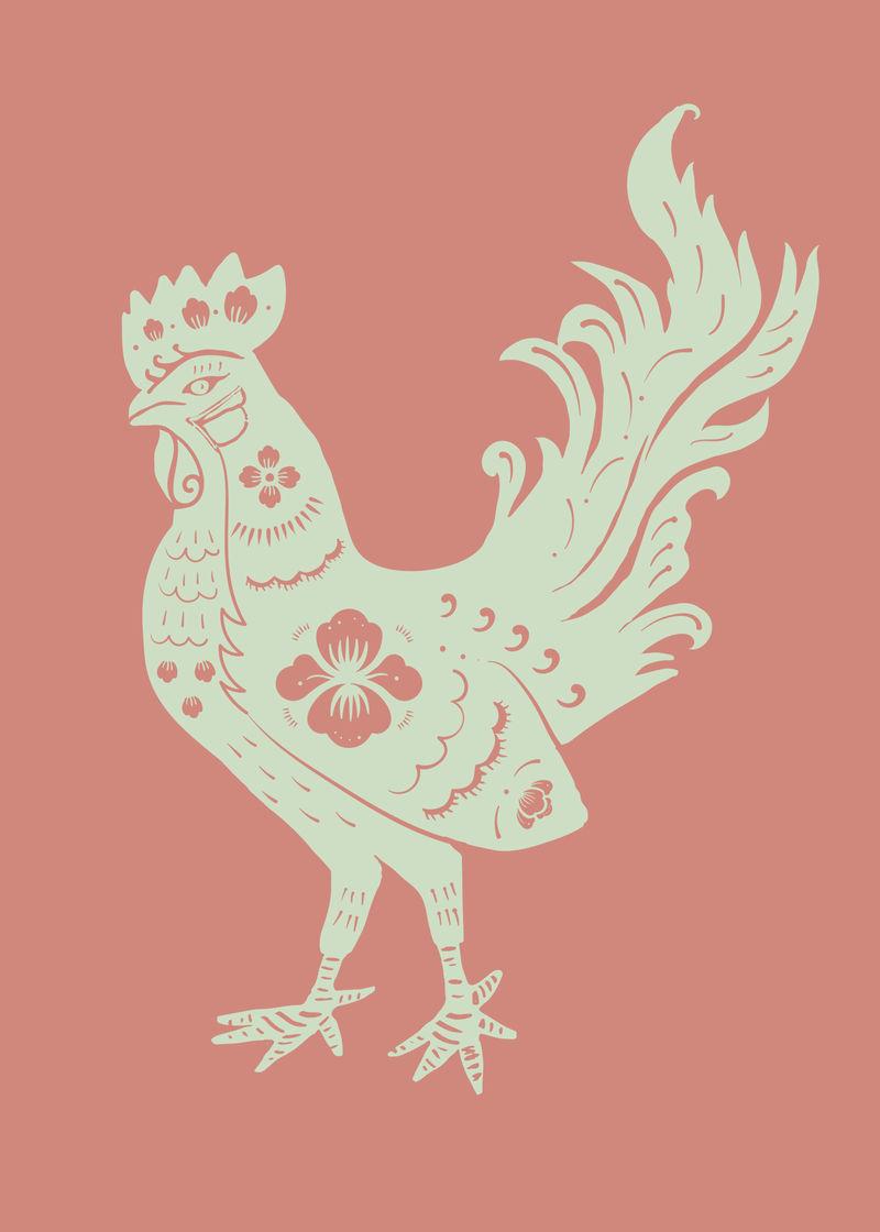 鸡年绿色中国传统十二生肖插图