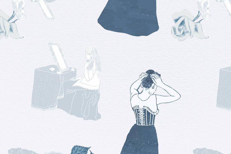 复古装扮女性psd背景由Samuel Jessurun de Mesquita的艺术作品混合而成