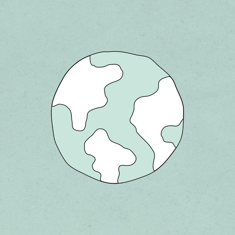 绿色世界psd涂鸦插图