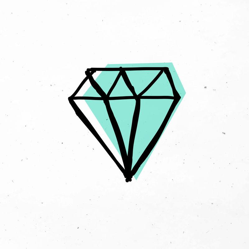 可爱的绿色钻石矢量涂鸦剪贴画