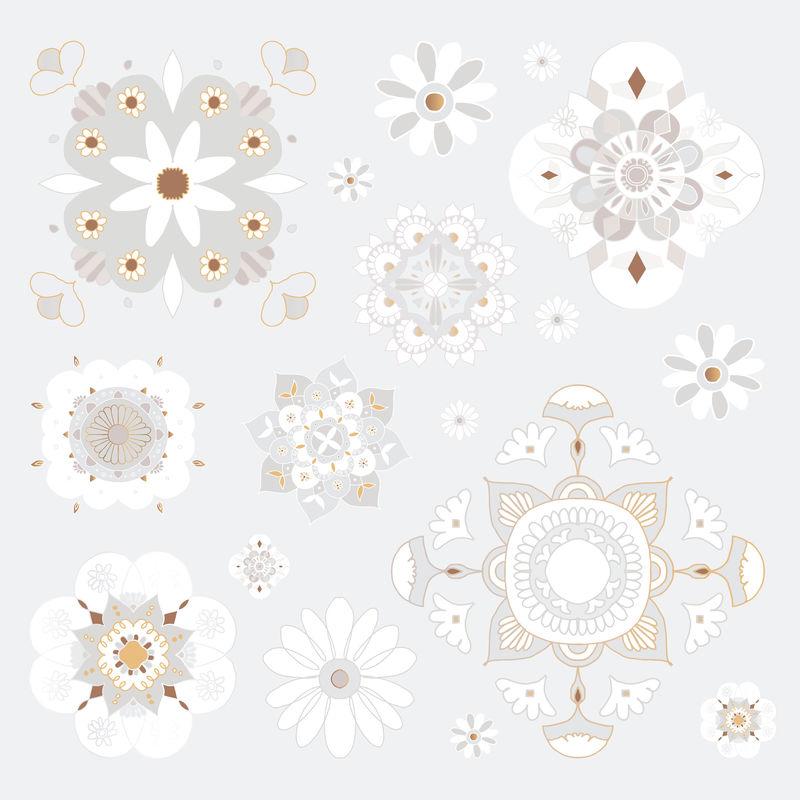 东方曼荼罗图案矢量花卉符号集
